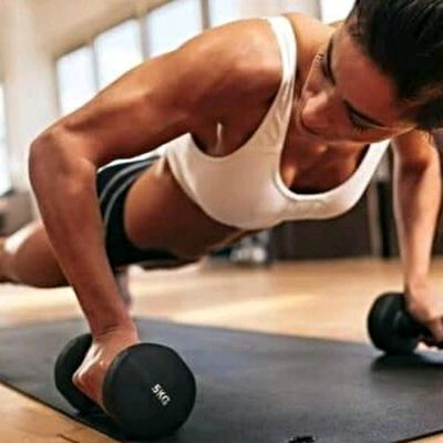 Dumbbell push-up pull-through